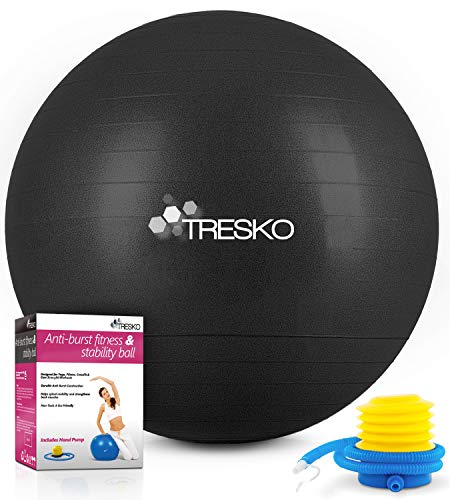 TRESKO Gymnastikball mit GRATIS Übungsposter inkl. Luftpumpe - Yogaball BPA-Frei | Sitzball Büro | Anti-Burst | 300 kg,Schwarz,65cm (für Körpergröße 155 - 175cm)