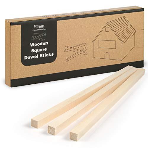 Pllieay 20 piezas 25 x 1 cm varillas cuadradas de madera sin terminar, varillas de madera, kit para principiantes de tallado en madera para manualidades DIY