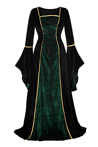 frawirshau Medieval Dress Renaissance Costume Women Ren Faire Costumes Retro Gown Velvet Dress Black and Green L