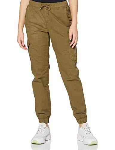 Urban Classics Damen Ladies High Waist Cargo Jogging Pants Hose, summerolive, XXL