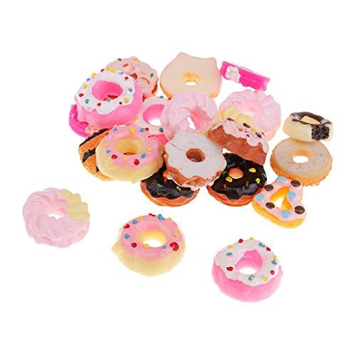 kowaku 20Pc Kawaii Doughnut Resin Flatback Embellishments Hair Bow Center Craft DIY