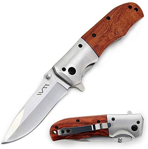 BGT Taschenmesser Klappmesser Outdoor Einhandmesser mit Edelstahlklinge und Palisandergriff für Camping, Jagd, Angeln