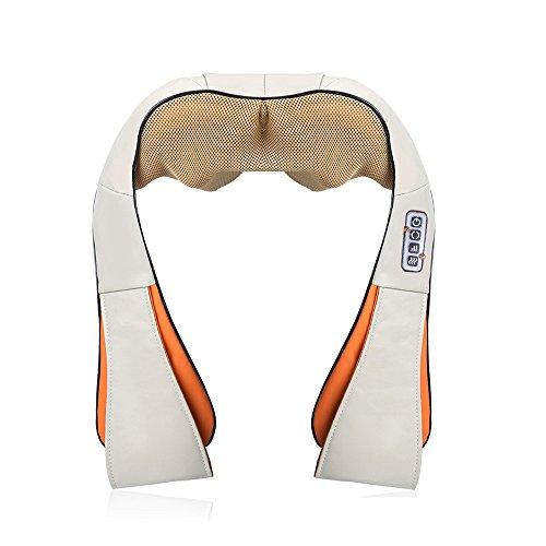 Vinteky Masajeador de Cuello y Hombros Básico Shiatsu Masajeador Cervical con 4D Rotación y Función de Calor para Relajación de Fatiga en Casa, Oficina o Coche (Gris)
