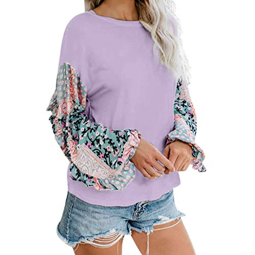 Purchase Lovor Women's Sale Plus Size Crewneck Floral Patchwork Lantern Sleeve Tops Blouse Boho Casu...
