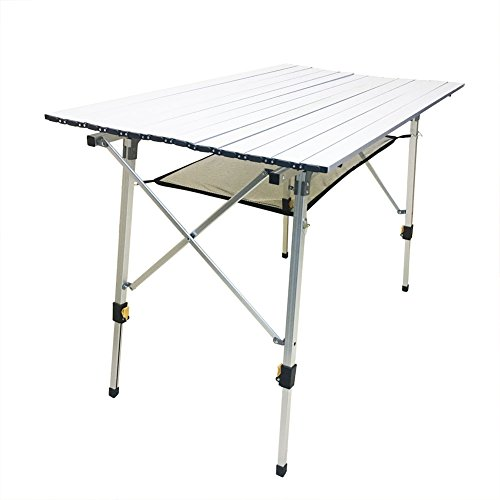 CampLand Aluminum Table Height Adjustable Folding Table Camping Outdoor...