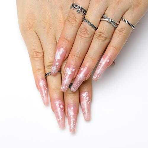 Vinzar Christmas Press on Nails Coffin 24Pcs Pink Fake Nails Bling Snowflake False Nails Acrylic Nails Tips for Women and Girls