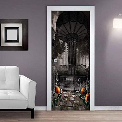 Türposter 3D Tür Aufkleber Selbstklebende Fototapete Abnehmbare Schlafzimmer Büro Wandaufkleber Dekoration 77X200 Cm (Terror Rotierenden Fliegenden Stuhl)
