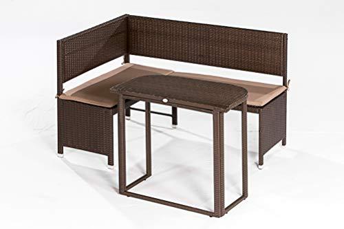 gartenmoebel-einkauf Eckbankset Graz 2-teilig, 1x Bank 148x100cm und 1x Tisch, Stahl + Polyrattan Mocca, mit Auflage Creme
