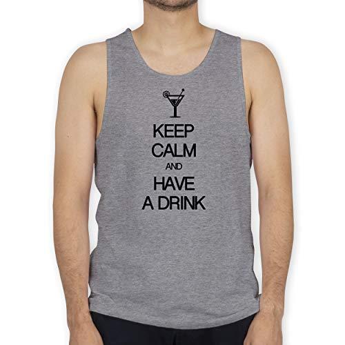 Keep Calm - Keep Calm and Have a Drink - M - Grau meliert - Geschenk - BCTM072 - Tanktop Herren und Tank-Top Männer