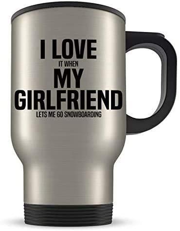 GZCC Snowboard-Reisebecher,Snowboard-Geschenk,Snowboard-Geschenk,Snowboard-Geschenk für Männer,Freund Snowboarder,Snowboard-Cup,ich Liebe Meine Freundin