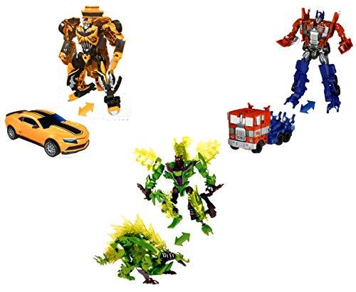 Brigamo Set of 3 Transform Robot Truck, Mustang & Dinosaur, 19 cm Action Figures