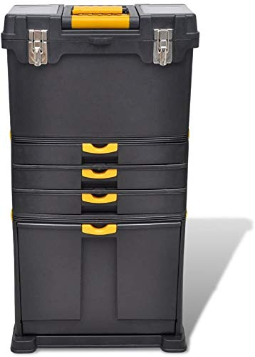 Cassetta degli attrezzi, carrello portatile, valigetta per attrezzi con 2 ruote e un manico in polipropilene, 46 x 28 x 82 cm, colore: nero