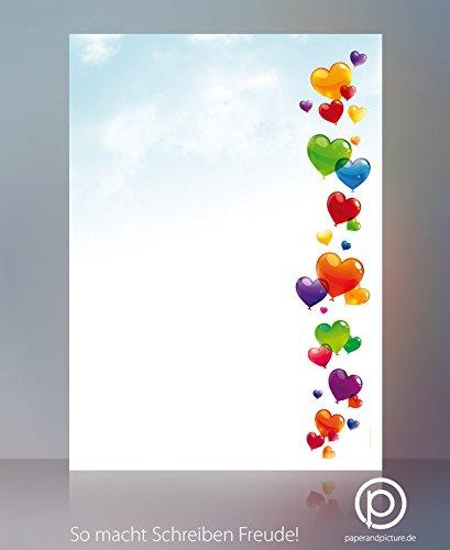 Liebe Luftballons Gute Laune Motivpapier Love is in the Air, 20 Blatt Briefpapier DIN A4, 90g/qm