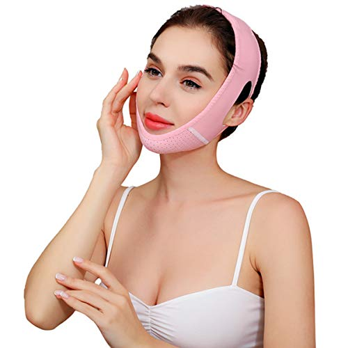 Facial Lifting Slimming Belt, V Line Mask Neck Compression Double Chin Strap Weight Loss Belts Skin Care Chin Lifting Firming Wrap(Pink)