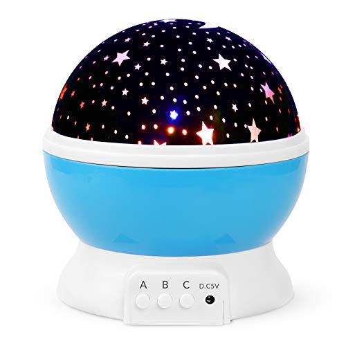 iThrough Sternenhimmel Projektor für Kinder,Sternenprojektor Nachtlicht Lampe für Kinder Schlafzimmer,360° Rotation LED Sternenlicht Lampe Sternhimmelprojektor mit 8 Farbige Lichter Projektion