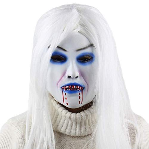 Lzdingli Halloween Equipment Horror Weißen Hexe-Geist-Schablonen-Halloween Latex Maske Horror-Partei Cosplay Maske mit Haaren Erstaunlich Styling