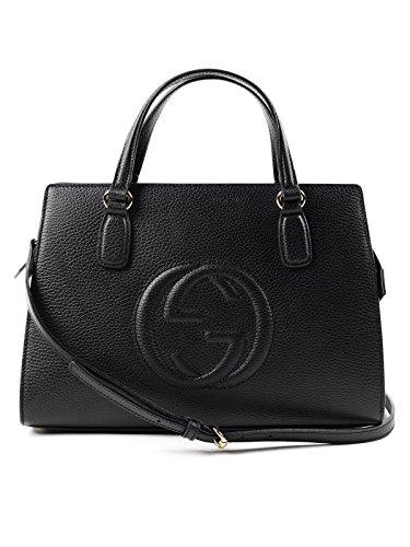 Gucci Soho Leather Satchel tote Structured Black Shoulder Bag New
