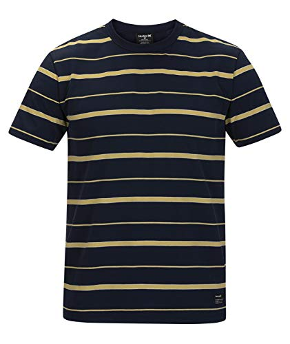 Hurley M Dri-Fit Harvey Stripe Patch S/S Camiseta, Hombre, Obsidian, S