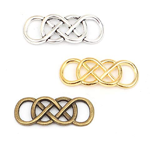 JGFinds Celtic Infinity Connector Charms Twist Knot, Silver, Gold, Bronze Tones, 1 ⅓', 54 Pack (18 of Each)