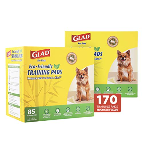 Glad for Pets Earth Friendly Bamboo Training Pads, 170 Puppy Pads Total | Eco Friendly Puppy Pads for All Dogs | Super Absorbent Puppy Training Pads Deodorizing Dog Training Pads (85 Ct 2 Pack)