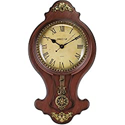 """Decoz Pendulum Wall Clock with Antique Heirloom Style - Vintage and Elegant Home Decoration - Battery Operated, 27"""" Tall Wall Décor with Character"""