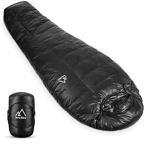 Terra Hiker Daunen-Winterschlafsack | Outdoor Mumienschlafsack für Camping und Bergsteigen mit ultraleichter und ultrakompakter Entendaunenfüllung | Maximale Körpergröße 6'3