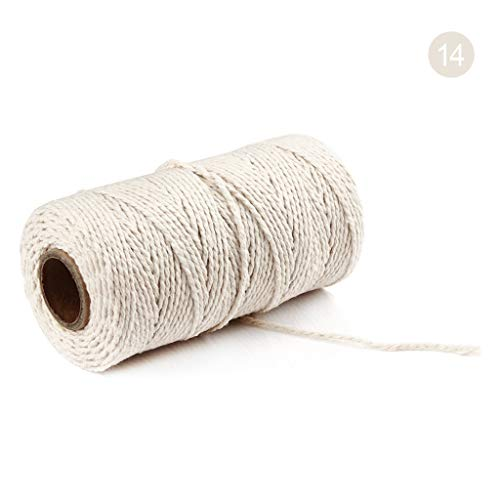 milkcha 100m Long/100Yard Pure Cotton Twisted Cord Rope Crafts Macrame Artisan String Home Textiles Home & Garden