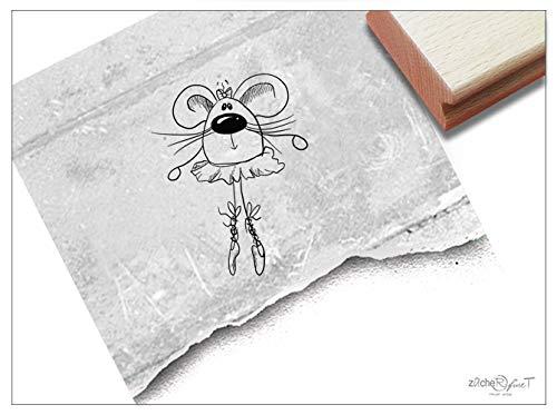 Stempel Kinderstempel Tanz-Maus Ballerina - Tierstempel Geschenk für Kinder Kita Kinderzimmer Schule Einschulung Schultüte Basteln - zAcheR-fineT (klein ca. 30 x 38 mm)