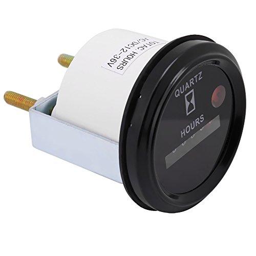 Stundenzähler Runder Anzeigezähler, DC AC 6-stellig Genauer runder Quarz-Stundenzähler-Tester für Boots-LKW-Motor (12-36 V)