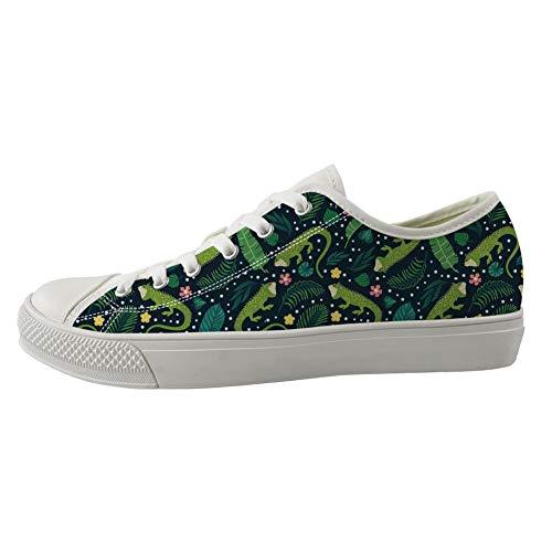 Coloranimal Damen Schnürschuhe aus Segeltuch mit Luftpolster, leicht, niedrig, vulkanisiert, flache Schuhe, - Iguana Party - Größe: 47 EU