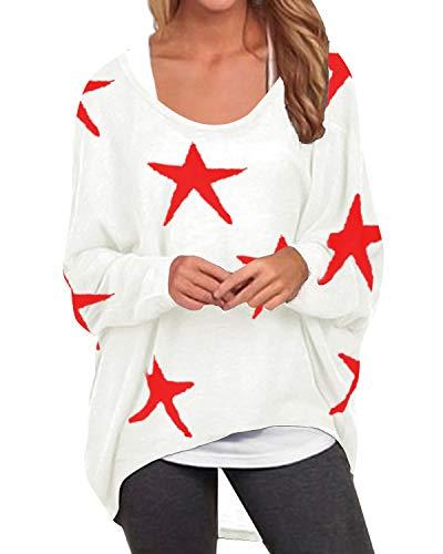 ZANZEA Damen Langarm Blumen Sweatshirt Asymmetrisch Jumper Pullover Oversize Tops weiß Medium