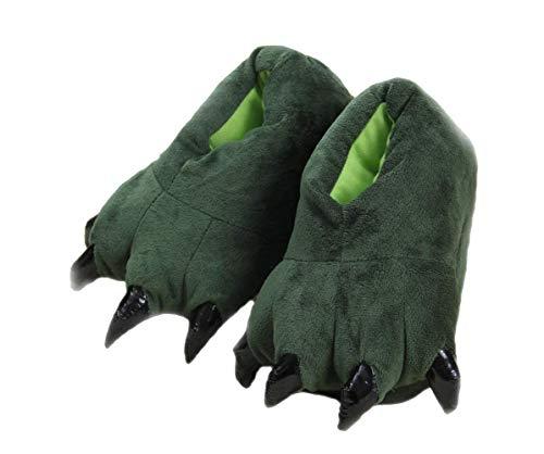 Shi xiaoshu Cartoon Tierpfoten warme Schuhe zu Hause Schuhe neutral weiche Pfoten Plüschpantoffel Schuhe (Small Size (Child Size 27-33), grün)