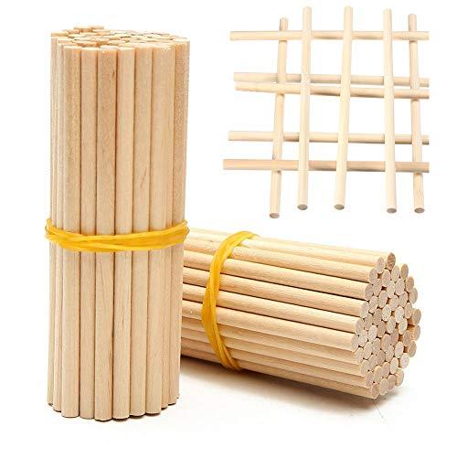 Holzstäbchen, 100 Stück lange Holzstäbchen zum Basteln von Lebensmitteln, lange Bambusstäbchen, 20 cm, Naturholzdübel mit 4 mm Durchmesser