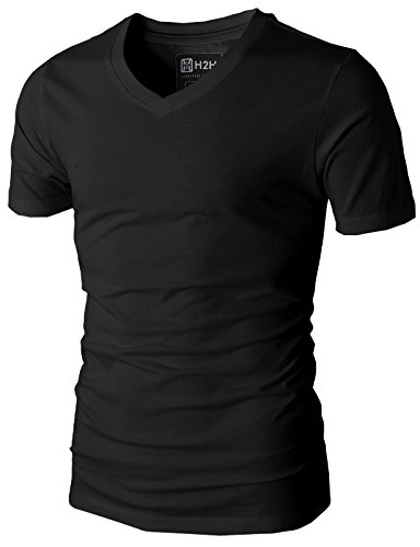 H2H Mens Casual Slim Fit Short Sleeve V-neck T-Shirt BLACK US L/Asia XL (KMTTS0380)