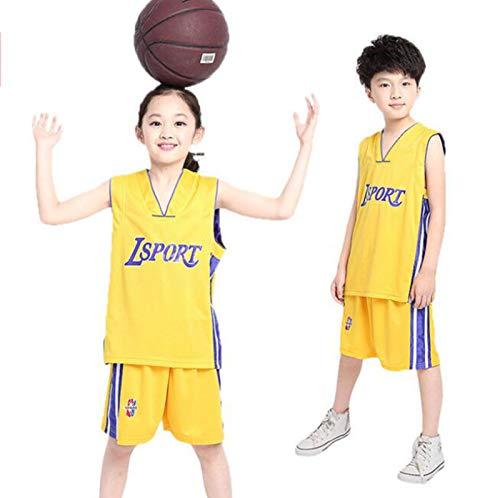 JX-PEP Sommer Basketballjacke Männer und Mädchen Kinder Basketballkleidung in Großmädchen Team Sportanzug,Gelb,160CM