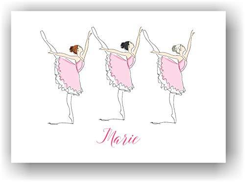 Ballerinas Ballett Tänzerinen Bild Kunstdruck Tanz Poster mit Wunsch Vorname personalisiert - Kinderzimmer Deko Wandbild Rosa - Geschenkidee für Mädchen