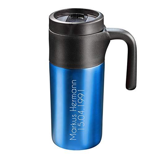 elasto Personalisierter Kaffeebecher mit Namen 0,33 Liter aus Edelstahl Isolierbecher mit Wunschgravur Thermobecher BPA-Frei Trinkbecher mit Gravur (Metallic-Blau)