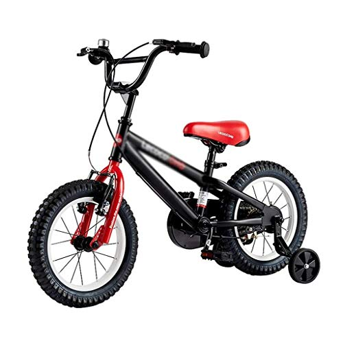 Y-LKUN Bicycle Bike Children's Bicycle Boy Mountain Bike 2-4-6 Year Old Girls' Bicycles Outdoor Sports Bike Safe and Stable Tricycle Best Gift for Kids (Color : Black, Size : 14 INCHES)