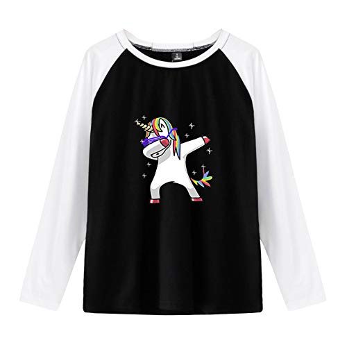 Unicornio Sudadera Sin Capucha Unisex Camisa 2 en 1 Patchwork Camiseta Manga Larga Hoodie Sweetshirt Blusa Sueter Jersey Otoño Invierno Pulover Hip Hop Jumper Top Swag Streetwear