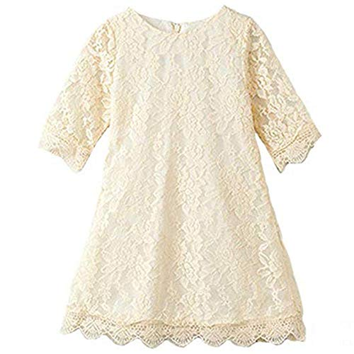 Flower Girl Dresses Christmas Easter Birthday Party Formal Pageant Dress for Kids Size 1 Long Sleeve Lace Flower Dresses for Toddler Baby Princess Tutu Tulle Dress Cute Beautiful Clothing (Beige 110)