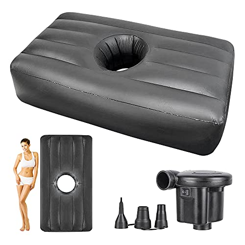 Inflatable BBL Bed with Hole after Surgery for Butt, BBL Mattress for Post Surgery Recovery and Sleeping, Portable Air Bed for BBL Brazilian Butt Lift Supplies Kit, Including Electric Inflator (Black)
