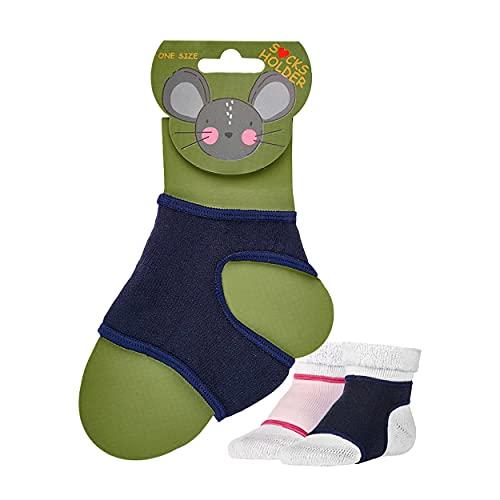 NewwerX 2 Paar Baby Sockenhalter – Baby-Söckchen Halter - Anti-Rutsch für Babysocken – Ausziehstopp für Krabbelsocken - One-Size 0-12 Monate (Marine-Blau)