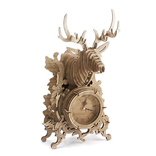 Amy&Benton 3D Puzzle de Madera Corte con Laser Ciervo Reloj de Madera para Adultos, Kits de Construcción Woodcraft, Modelo de Ensamblaje de Bricolaje para Adultos