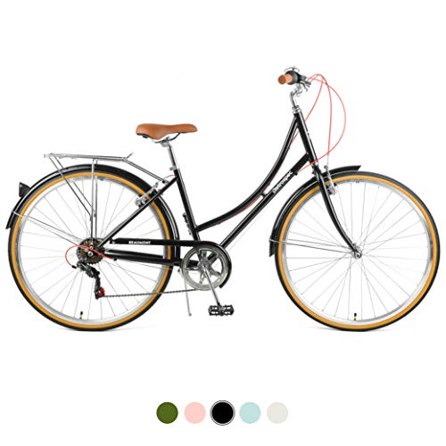 Amazing Deal Retrospec Beaumont-7 Seven Speed Lady's Urban City Commuter Bike, Black, 44cm/Medium
