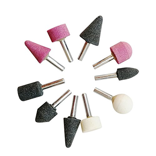Btibpse 1/4-inch Shank Abrasive Stone Points Electric Grinding Wheel Head for Dremel Rotary Kit 10pc/set