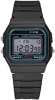 Multifunctional Men's Waterproof Digital Sports Watch with LED Light Smart Wristwatch Casual Luminous Watche with Pedometer-Black