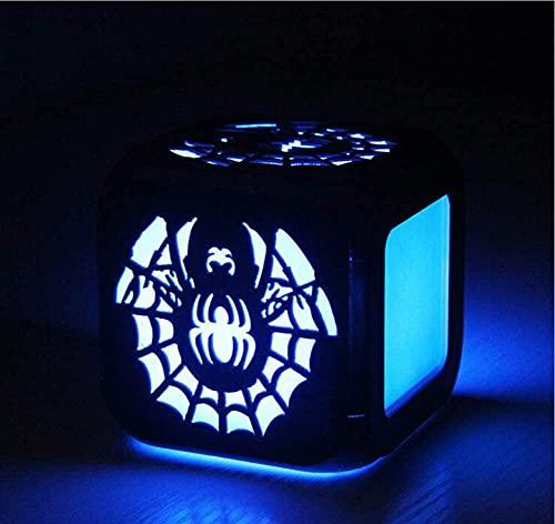 YAOJIA Despertador Digital Infantil Spider Web 3D Estéreo Alarma Reloj De Alarma LED Pantalla Pequeña Digital Reloj De Alarma 7 Cambios De Color, Adecuados For Decoración De Noche De Dormitorio