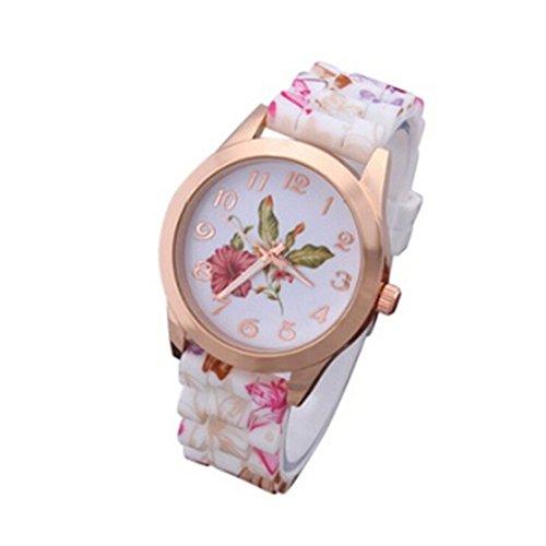 Sannysis calientes de moda mujer vestido reloj silicona impresas flor Causal cuarzo relojes de pulsera, rojo vino