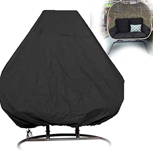 Lelestar Patio Hanging Egg Chair Cover Double 210D Waterproof Swinging Chair Cover Veranda Patio Cocoon Egg Chair Garden Furniture Cover with Drawstring (No Chair) (Black)