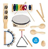 Classic Cantabile Kinderpercussion Starter-Set - 13-teiliges Percussion-Set für Kinder aus rückstandsfreiem Holz und Metall